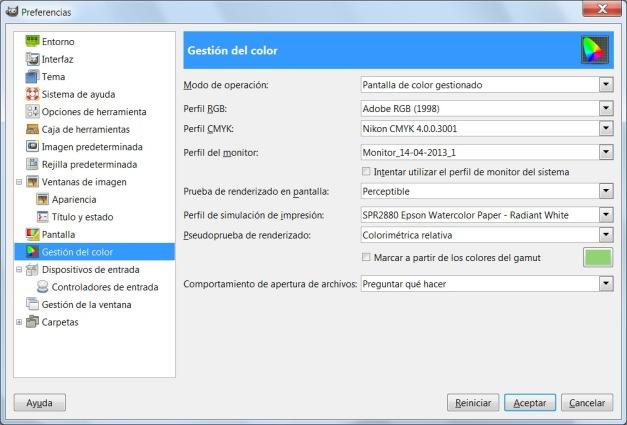 Cuadro de diálogo de gestión de color en GIMP.