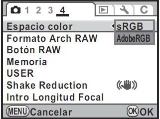 Menú de selección Espacio de color en una cámara